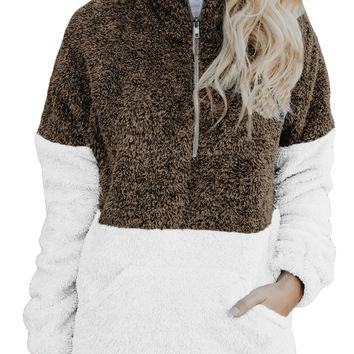 Women Brown White Zip Neck Oversize Fluffy Fleece Pullover
