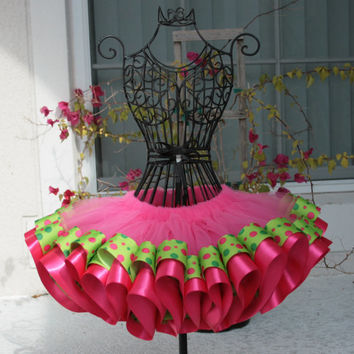 Hot Pink and Green Ribbon Trimmed Tutu,  Tutu, Pink Ribbon Tutu, Photo Prop Tutu, Birthday Tutu