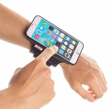 TFY Open Face Sport Armband Wrist Band Holder + Detachable Case Cover for iPhone 6/6S, Black & Black belt - (Open-Face Design)