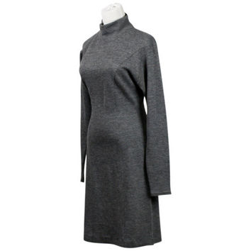 70s dress / 1970s turtleneck dress / vintage Benetton / grey dress / charcoal gray / wool knit / retro / S M