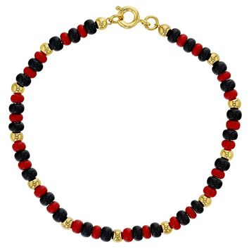 18k Gold Plated Evil Eye Protection Red Black Simulated Azabache Bracelet 7""