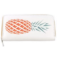 Pineapple Print Clutch Wallet