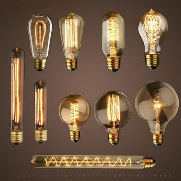 1 Pc 40W Vintage Retro E27 Filament Edison Bulb Light Warm White 220V Antique Incandescent Bulb Lamp