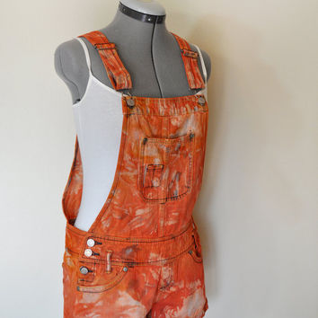 Orange Bib OVERALLS  - Hand Dyed Orange No Boundaries Cotton Denim Overall Shorts - Boho Hipster - Size Juniors 5 Small (32 waist)