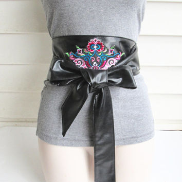 Black Obi Belt/ Leather Wrap Belt/ Waist Tie Belt/Black Wide Belt/Black Sash Belt/Embroidery Belt.
