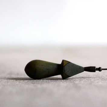 French Vintage Bakelite Hat Pin in olive green by voladoravintage