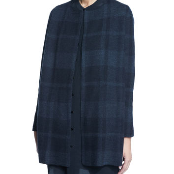 Buffalo Plaid Long Jacket, Size: