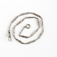 Antique Silver Tone Pocket Watch Chain - Vintage Edwardian 1910s Swivel Clip Spring Clasp Decorative Panel Men's Fashion Accessory Jewelry