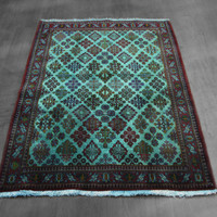 teal green overdyed rug