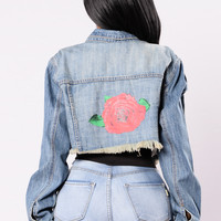 Bad To The Rose Jacket - Light Blue