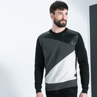 FAUX LEATHER GEOMETRIC SWEATSHIRT WITH SEAMS