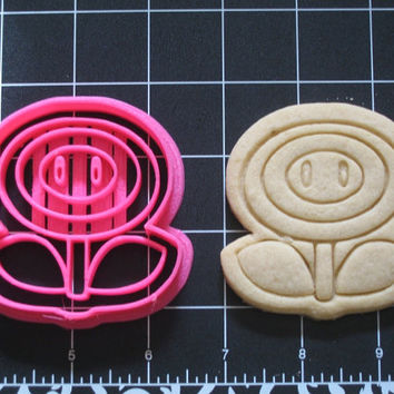 Mario Inspired Fire Flower Cookie Cutter Stamp Set Fireball Pink BPA FREE