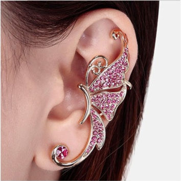 1 pc Fashion Women Jewelry Exquisite Rhinestones Butterfly Ear Cuff crystal punk Clip Earring = 1669402628