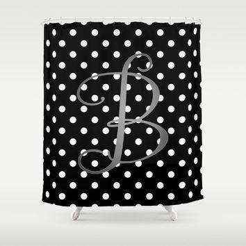 Monogram Shower Curtain, Black + White Polka Dot + Silver Monogram, Cute Bathroom Decor, Girls Shower Curtain Monogram, Black + White Decor