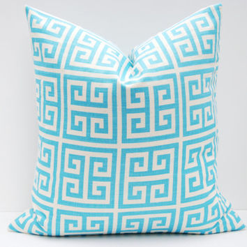 Tiffany Blue Pillow.16x16 inch.Decorative Throw pillow.Aqua Blue Pillow .ONE Cover. Printed fabric both sides.Light Blue Pillow