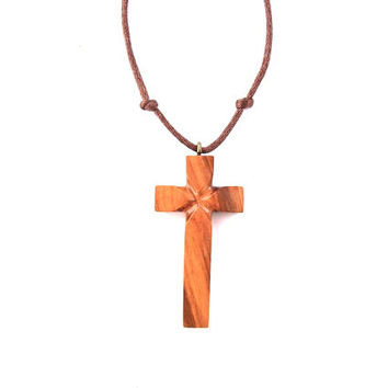 Wooden Cross Necklace, Wood Cross Pendant, Mens Cross Necklace, Mens Wood Pendant, Christian Jewelry, Wood Cross Jewelry, Hand Carved Cross