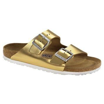 Birkenstock Classic Arizona Smooth Leather Regular Fit Soft Footbed Metallic Gold - Be