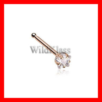 Rose Gold Star Prong Set Gem Top Nose Stud Ring