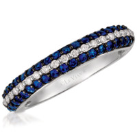 "Le Vian® ""Exotics"" Blueberry Sapphire & Vanilla Diamond® Pave Ring Set in 14K White Gold"