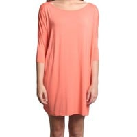 Dark Peach Piko Tunic Half Sleeve Dress