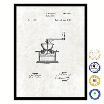 1870 Coffee Mill Grinder Vintage Patent Artwork Black Framed Canvas Print Home Office Decor Great for Coffee Spice Lover Cafe Shop