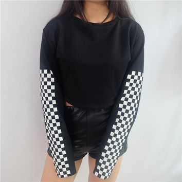 Retro Cropped Checkerboard Sweatshirt