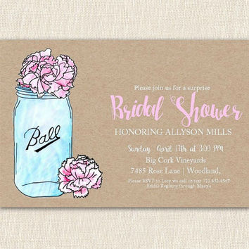 Mason jar bridal shower invitation, bridal shower invitation, rustic wedding invitation, 6x4