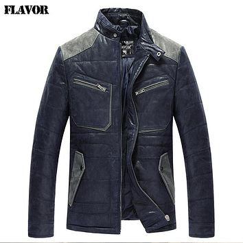 Men's real leather jacket padding cotton warm Genuine Leather jacket men slim leather coat