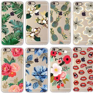 Clespruce Cherry pineapple Banana leaf Flower Cactus rose peony Case Cover For Apple iphone 6 6s 7 8 8plus Soft TPU Case Daisy