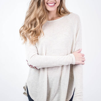 Ivory Aztec Elbow Patch Sweater