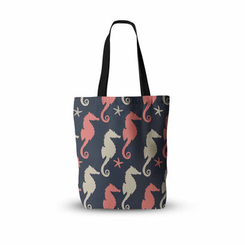 "afe images ""Gray and Coral Seahorses"" Coral Gray Digital Everything Tote Bag"
