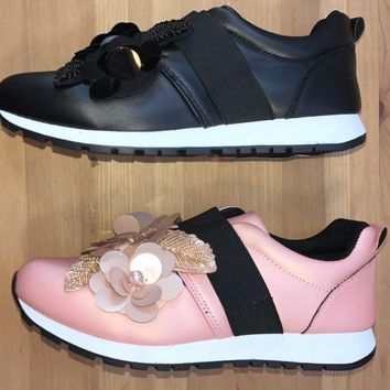Fashion Sneakers  Reeza 01 Black or Blush Satin