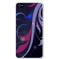 Floral Abstract Flower Art - Purple Lavender Blue Apple Iphone 5 Quality TPU Soft Rubber Case for Iphone 5/5s - AT&T Sprint Verizon - White Case