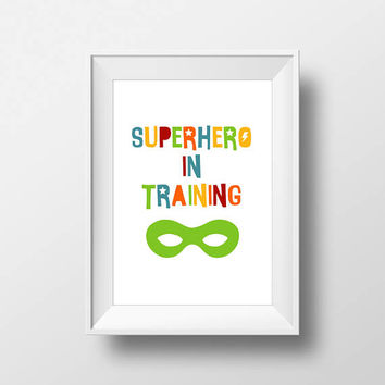 SuperHero Modern Stylish print, Nursery Art, Kids Room Decor, Poster, Digital, Instant Download, Typography, Minimalist, Marvel, Comic, Blue