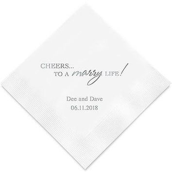 Cheers to a Marry Life Printed Paper Napkins (Sets of 80-100)
