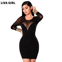 Women Sexy Party Long Sleeve translucent Lace Shoulder Summer Dresses Female Night Club Dresses Casual Black Slim Dress