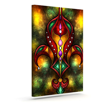 "Mandie Manzano ""Red Fleur De Lis"" Warm Canvas Art"
