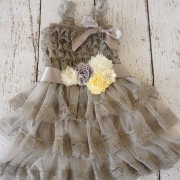 Flower Girl Dress -Lace Flower girl dress -Baby Lace Dress - Rustic -Country Flower Girl - gray flower girl dress - silver flower girl dress