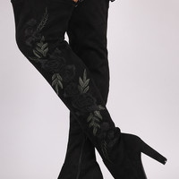 Embroidered Floral Chunky Heeled Boots | UrbanOG