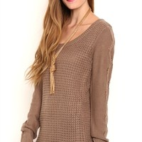 Long Sleeve Waffle Stitch High Low Tunic Top with Pointelle Stitching