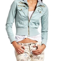 Hooded Mint Bomber Jacket: Charlotte Russe