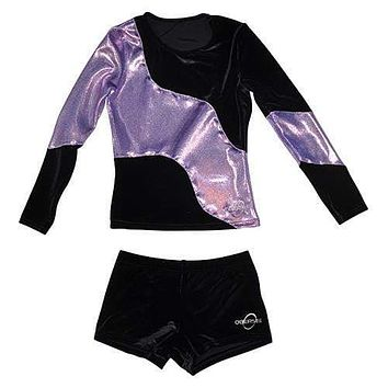 O3CHSET025 - Obersee Cheer Dance Tank and Shorts Set - Long Arm Lilac Swerve