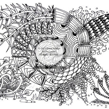Colouring Sheet Zen Doodle Instant Download pdf and png Abstract Art Zentangle Inspired. Rising.