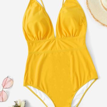 Plus Ruched Low Back One Piece Swimsuit