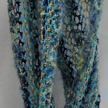 Scarf-Neck Warmer-Lacey Twist -Shawl-Shrug-multi blues smd greens-made from Funky Nylon Polyester Fur Yarn-Merino Wool-Cotton Yarns