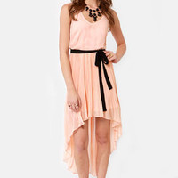 Pleat and Be Merry High-Low Peach Dress