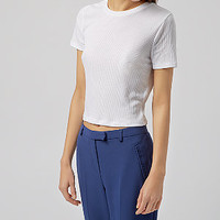 White Short Sleeve Ribbed Crop Top