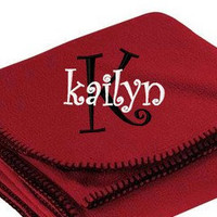 Personalized Embroidered Fleece Blanket Monogrammed Great Gift Idea