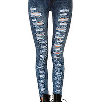 The High Waisted Distressed San Diego Jeans in Blue