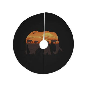 "Eikwox ""African Elephant"" Brown Orange Illustration Digital Animal Print Nature Tree Skirt"